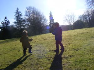 Luke on a walk in the park with his little brother Coen